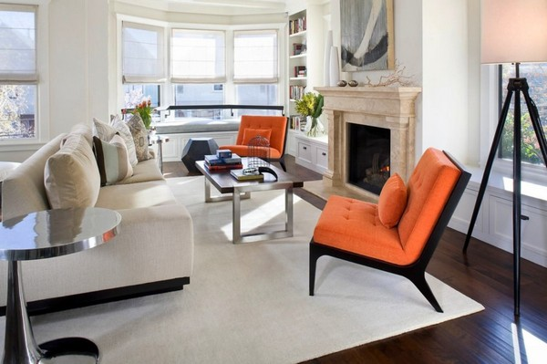 6-orange-gray-and-beige-color-in-living-room-interior-design-orange-arm-chair-accents-fireplace
