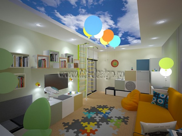 6--tropical-island-style-bright-interior-toddler-room-orange-sofa-sky-stripy-wall-stretch-ceiling