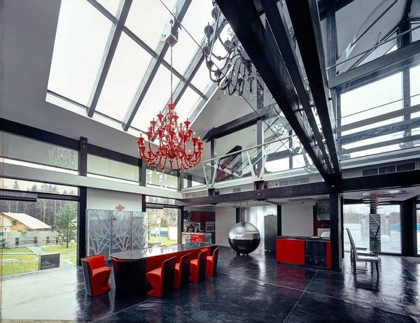 6-unusual-glass-house-panoramic-windows-open-plan-concept-kitchen-living-room-unusual-round-ball-shaped-kitchen-island-red-dining-table-kitchen-set-chandelier-skylights