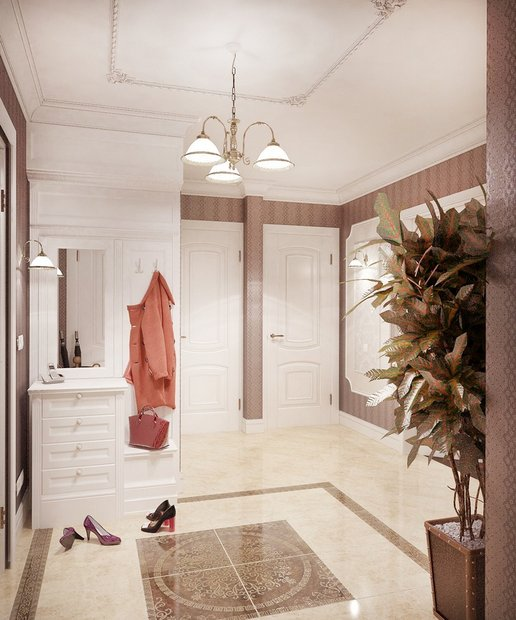 7-neo-classical-style-pastel-hallway-coat-rack-shoe-bench-mirror-stripy-wallpaper-floor-tiles-composition