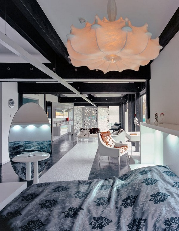 7-unusual-glass-house-panoramic-windows-open-plan-concept-bedroom-bathroom-beautiful-flower-shaped-chandelier-white-walls-dressing-table