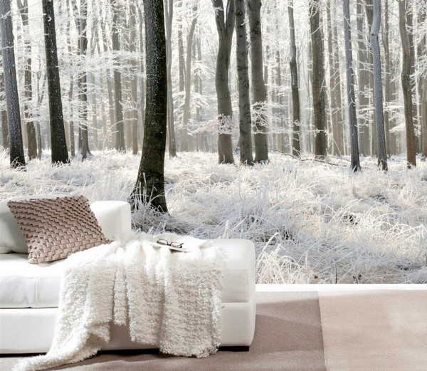 10 inspiring winter wall murals home interior design for Winter wall murals