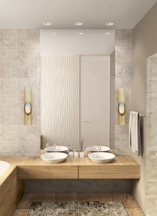 8-cozy-minimalist-bathroom-gray-marble-walls-round-kohler-basins-redline-3d-wall-panels