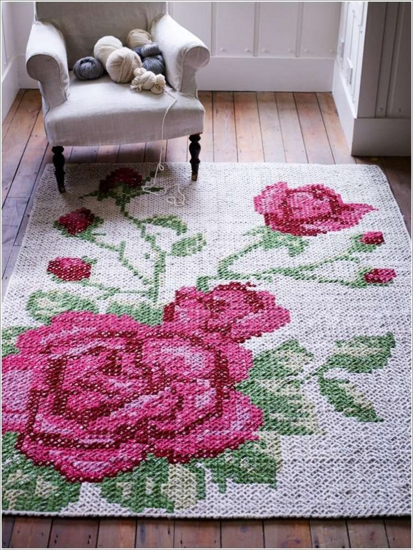 8-cross-stitch-pattern-in-interior-design-hand-made-carpet