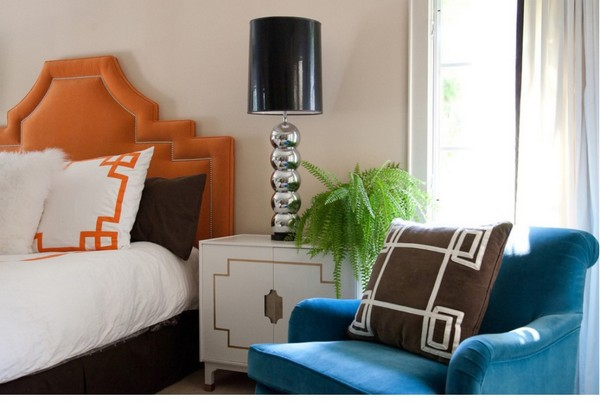 9-2-orange-color-in-bedroom-interior-design-headboard-blue-arm-chair