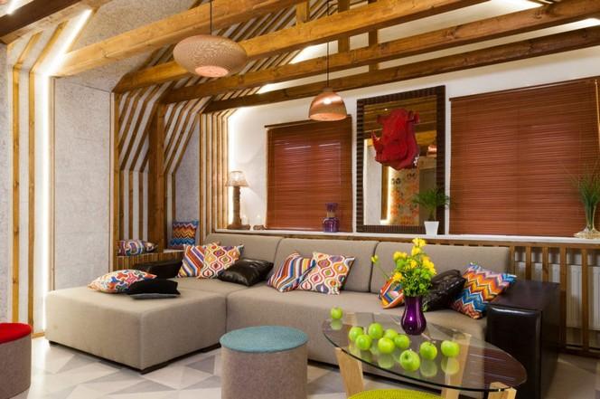 0 Bright Colorful Attic Floor Interior Design Living