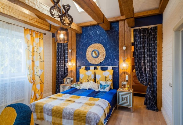 0-cheerful-blue-yellow-white-attic-bedroom-interior-design-ceiling-beams-hand-made-mirror-3D-effect-skylight-curtains-blinds