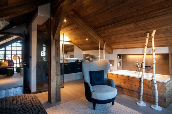 Two level apartment transformed into a chalet home interior