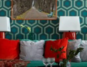 Apartment with Noble Color Palette: Emerald, Azure, Ochre & Purple
