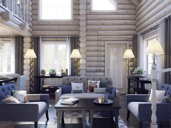Superb 0 Wooden Log Timber House Interior Light Gray
