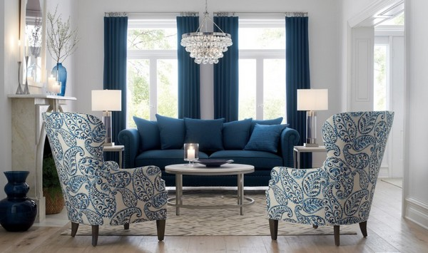1-Durham-Sofa-blue-and-white-living-room-arm-chairs-Crate-and-Barrel-blue-curtains-crystal-chandelier-classical-style