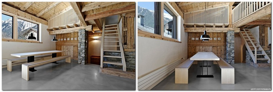 1-France-chalet-interior-design-Scandinavian-style-rough-wooden-beams-white-walls-stone-mountain-view-staircase-window