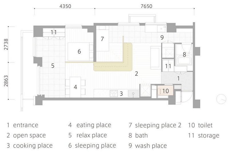 1-apartment-layout-scheme-plan-L-shaped-unusual-layout-without-doors