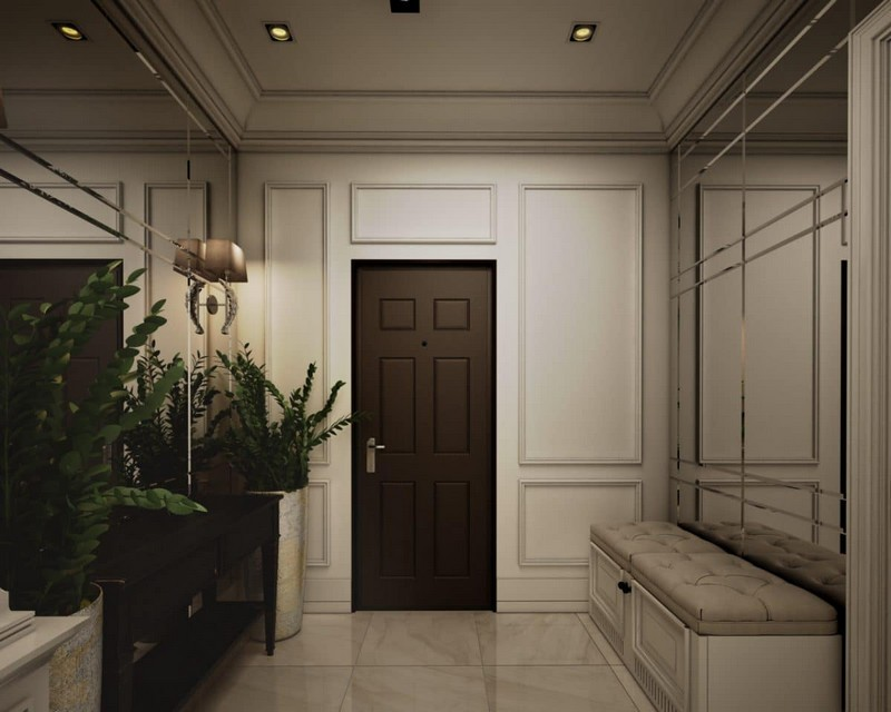 1-elegant-luxurious-light-gray-and-beige-pastel-neo-classical-entry-room-mirror-walls-interior-design-crown-moldings-eichholtz-wall-lamps