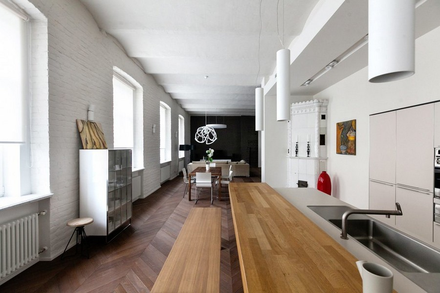 contemporary style in historical building: bricks & arched ceiling