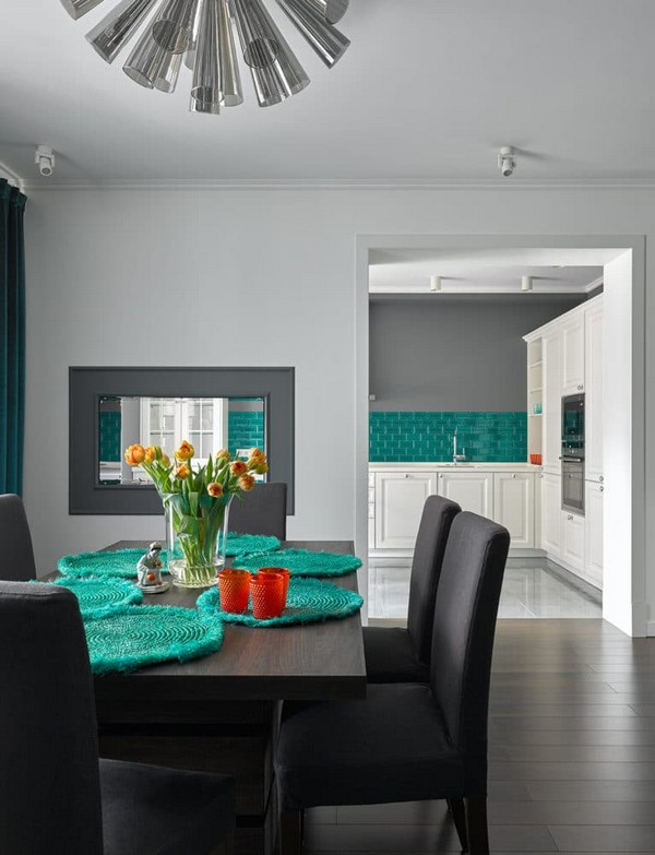Interior Design Color Concept Apartment With Noble Color Palette Emerald Azure Ochre & Purple .