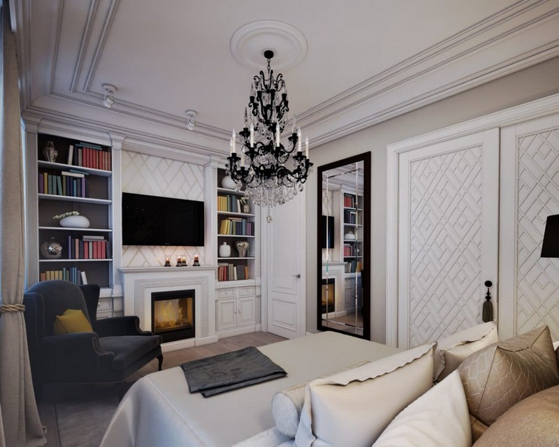 10-elegant-luxurious-light-gray-and-beige-pastel-neo-classical-bedroom-interior-design-crown-moldings-crystal-chandelier-green-kale-velevt-arm-chair-fireplace