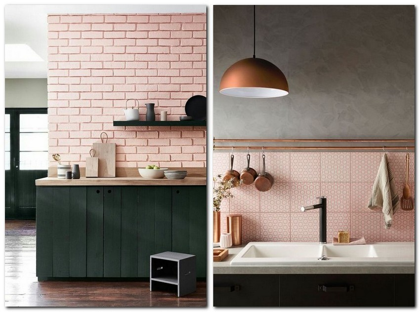 10-pale-dogwood-color-pantone-powder-pink-in-kitchen-interior-design-pastel-color-brick-wall-backsplash-gray-kitchen-cabinets-bronze-lamp