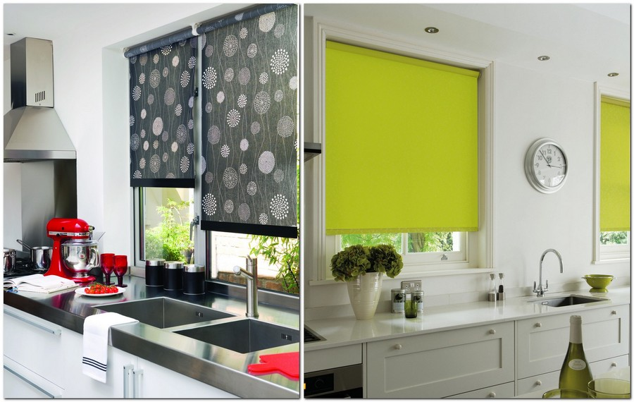 Ideal  roller blinds gray black bright green contrasting