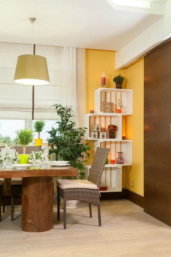 11-bright-green-yellow-brown-dining-living-room-interior-design-wicker-furniture-massive-wooden-table-tree-stumps-legs-roman-blinds-open-shelving-wooden-planks-sliding-door