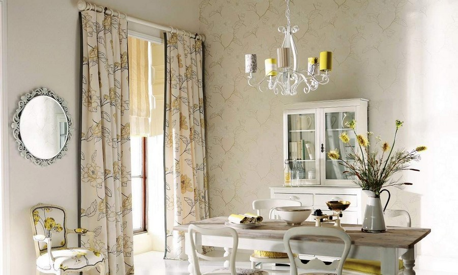 Cool  cotton curtains with floral pattern in kitchen