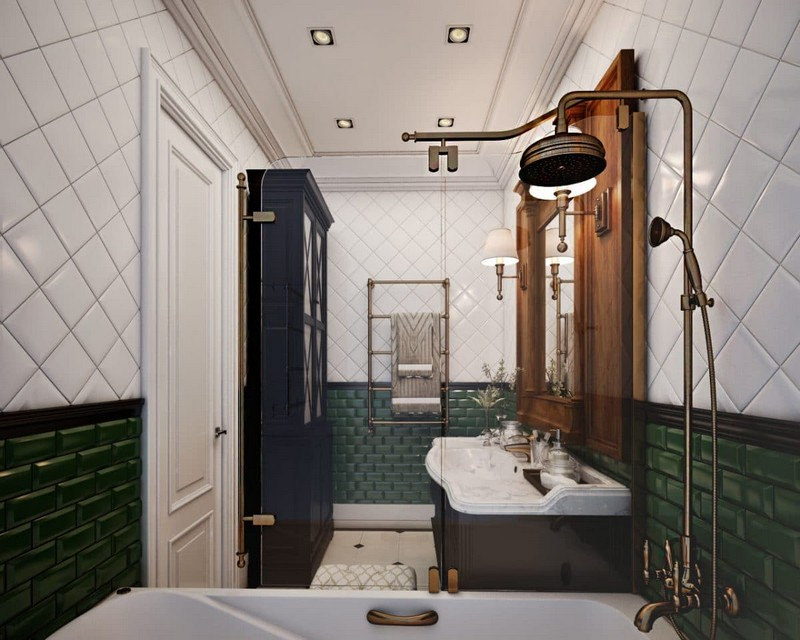 11-eclectical-retro-neo-classical-bathroom-interior-design-white-and-green-brick-tiles-brass-shower-head-vintage