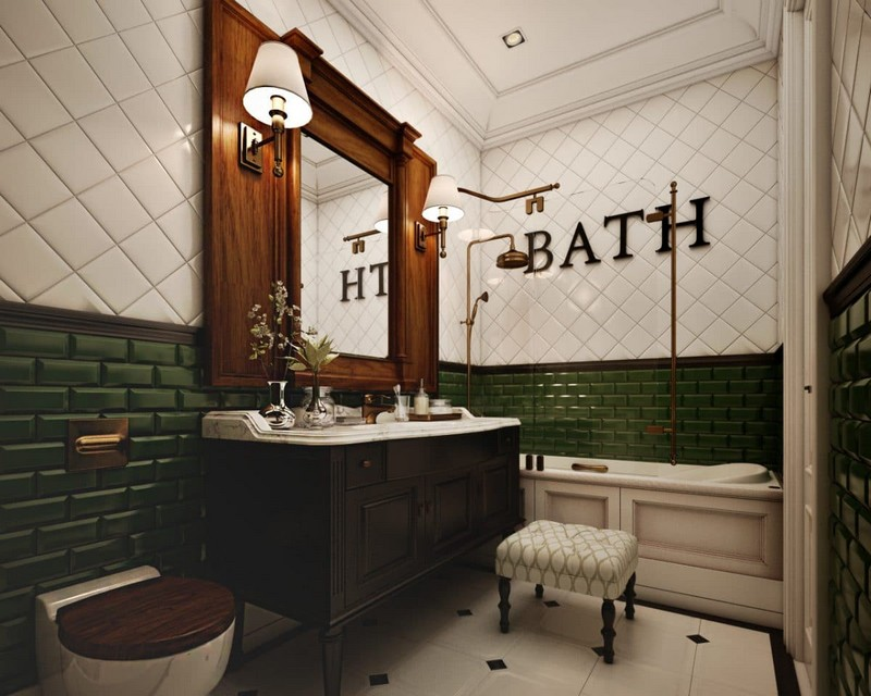 12-eclectical-retro-neo-classical-bathroom-interior-design-white-and-green-brick-tiles-brass-shower-head-vintage-wooden-mirror-frame-wash-basin-cabinet