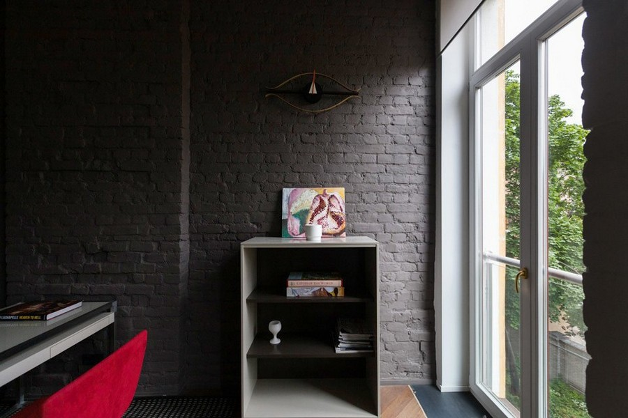 12-minimalist-style-interior-design-apartment-gray-old-brick-wall-panoramic-window