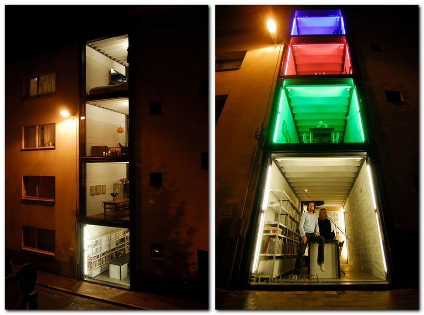12-world's-narrowest-houses-from-sea-containers-sculp-studio-panoramic-windows-narrow-room-interior-design-unusual-architecture-multicolor-LED-lights-illumination
