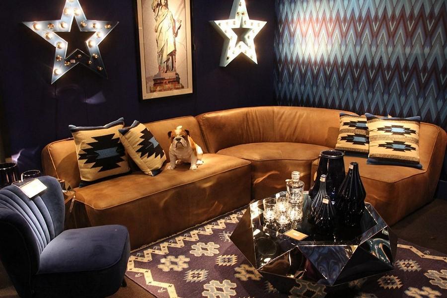 13-Fancy-furniture-at-Maison-and-&-Objet-2017-Exhibition-trade-fair-Paris-darl-blue-geometrical-wallpaper-velvet-arm-chair-big-orange-sofa-in-interior-design