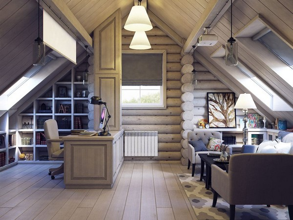 13-wooden-log-timber-house-interior-light-gray-blue-walls-open-to-below-second-floor-plan-skylights-work-room-computer-writing-desk-projector-screen