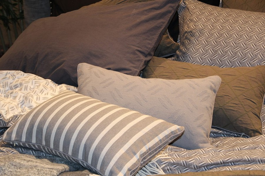 14-Diesel-Home-Linen-home-textile-at-Maison-&-Objet-2017-exhibition-trade-fair-gray-beige-stripy-decorative-pillows