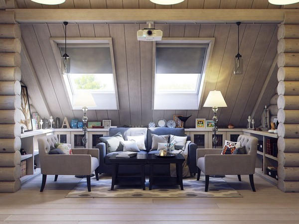 14-wooden-log-timber-house-interior-light-gray-blue-walls-open-to-below-second-floor-plan-skylights-ptojector-lounge-zone-sitting-furniture-set