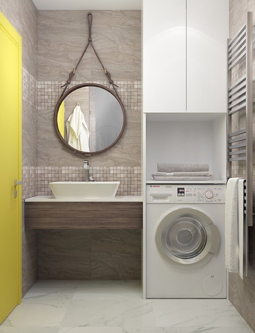 15-cheerful-yellow-door-bathroom-interior-design-gray-tiles