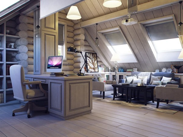 16-wooden-log-timber-house-interior-light-gray-blue-walls-open-to-below-second-floor-plan-skylights-work-room-home-cinema-projector-screen-computer-desk-sitting-furniture-lounge-zone