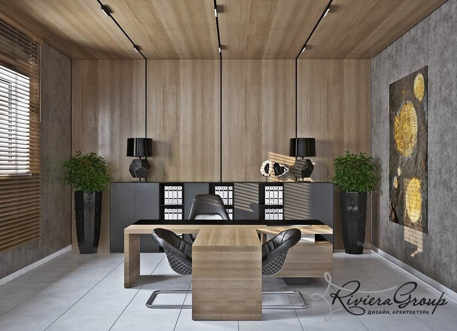 2-2-eco-style-office-interior-design-project-render-faux-wooden-panels-walls-ceiling-white-gray-green-black-desk-lamps-potted-plants-abstract-painting