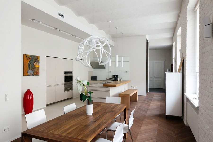 Contemporary style in historical building bricks arched - Open concept apartment design ...
