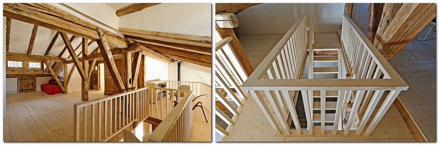 2-France-chalet-interior-design-Scandinavian-style-rough-wooden-beams-white-walls-staircase-attic-floor