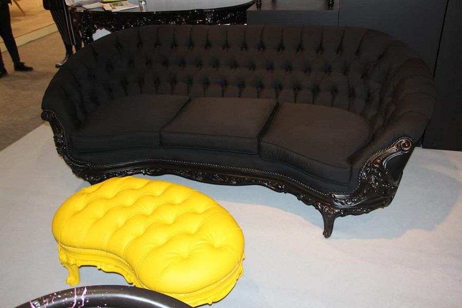 2-Polart-furniture-in-interior-design-at-Maison-and-&-Objet-2017-Exhibition-trade-fair-Paris-black-sofa-capitone-yellow-ottoman