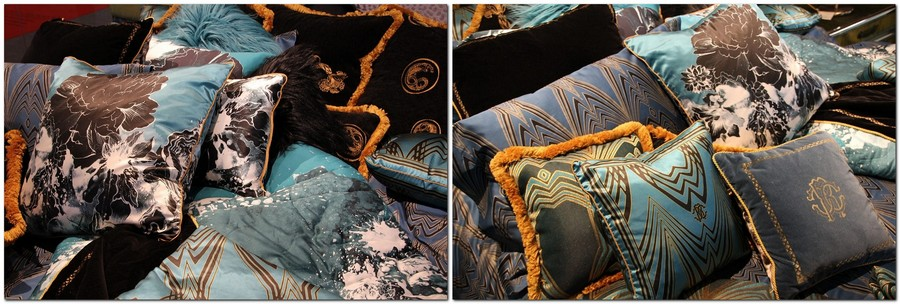 2-Trussardi-Home-Linen-and-Roberto Cavalli-home-textile-at-Maison-&-Objet-2017-exhibition-trade-fair-blue-orange-black-bed-linen-fur-pillows