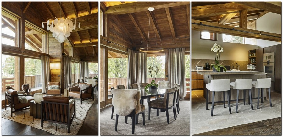 2-contemporary-chalet-style-interior-design-open-plan-living-room-dining-table-kitchen-island-ceiling-beams-carpet-fur-arm-chairs