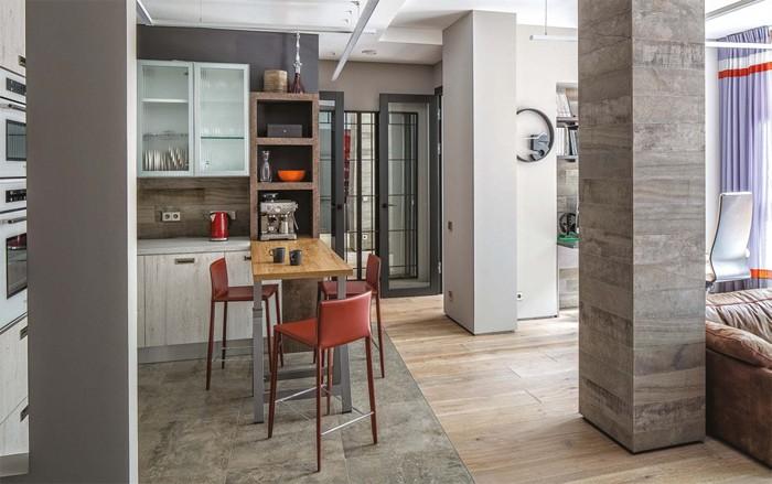 2-gray-loft-style-bachelor's-apartment-interior-design-open-plan-living-room-kitchen-bar-table-stools-load-bearing-column-laminate-flooring-ceramic-tiles