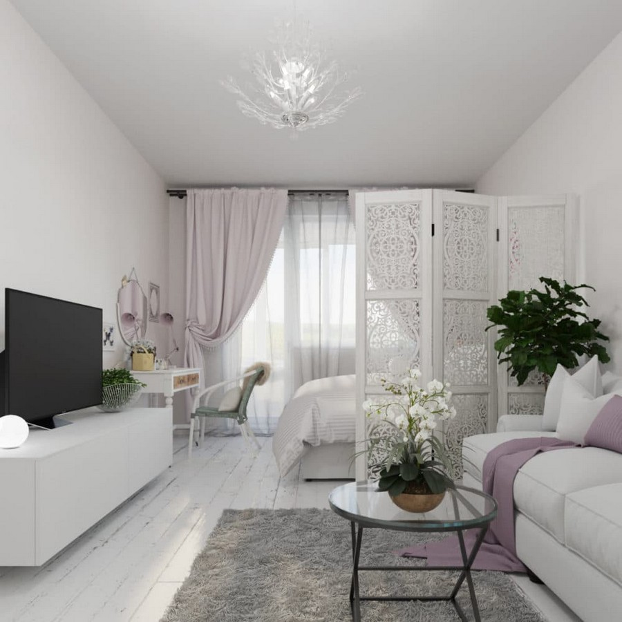 2-light-and-airy-pastel-white-and-lilac-interior-design-living-room-with-sleeping-place-bed-lattice-screen-divider-IKEA-folding-sofa-glass-table-orchid-drapery-curtains-TV-console-neo-classical-style