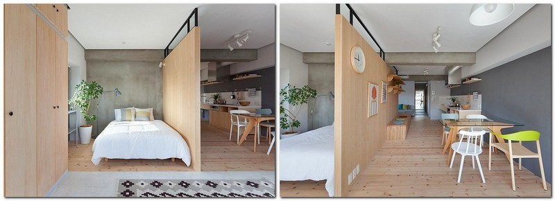 2-totally-wooden-apartment-with-unusual-L-shaped-layout-open-concept-wooden-floor-walls-furniture-kitchen-living-room-concrete-ceiling-bedroom-without-doors