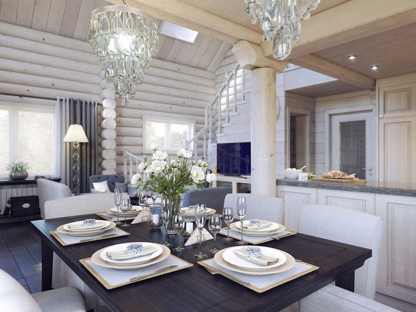 2-wooden-log-timber-house-interior-light-gray-blue-walls-open-to-below-second-floor-plan-skylights-dining-room-table-crystal-chandelier
