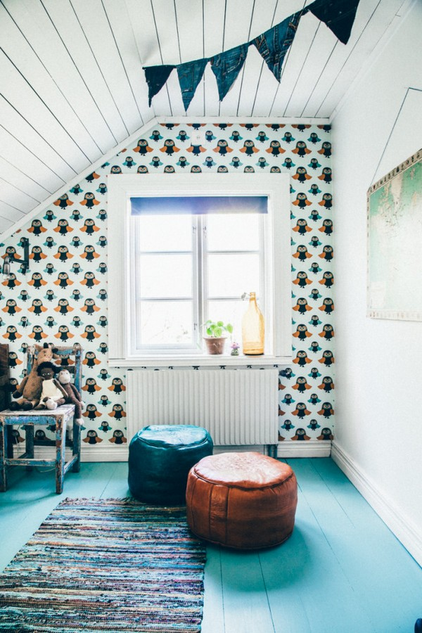20--Scandinavian-Sweden-bohemian-boho-chic-style-interior-design-toddler-kid's-room-bedroom-ottomans-attic-floor-wooden-ceiling-owl-wallpaper-pattern-handcrafted-hand-made-rug-carpet