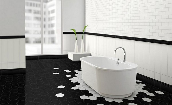 29-unusual-geometrical-pattern-black-and-white-hexagonal-floor-tiles-in-bathroom-interior-design