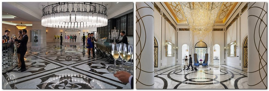 3-1-Mandarin-Oriental-Hotel-Taiwan -Mandarin-Oriental-Hotel-Taiwan-interior-design -classical-French-style-hall-reception-black-and-white-golden-ceiling-decor