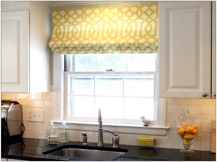 Fresh  Roman blinds in kitchen interior design