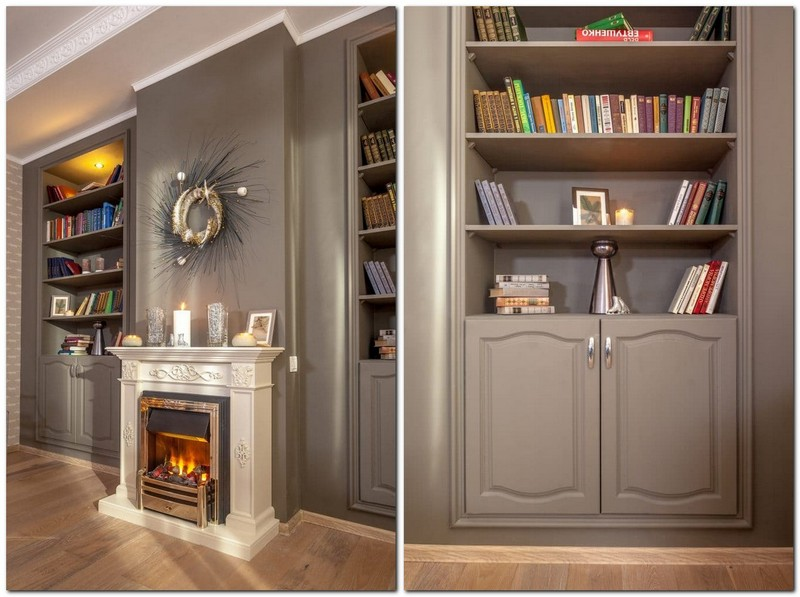 3-classical-style-gray-living-dining-room-interior-design-Christmas-designer-wreath-tree-book-shelves-stucco-fireplace-crown-moldings